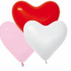 Шар Сердце ассорти (белый, красный, розовый)